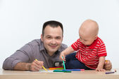Father and toddler son drawing — Stock Photo