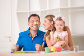 Funny adorable family paining — Stock Photo