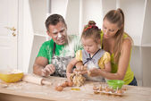 Family portrait while cooking — Stock Photo