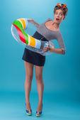красива дівчина в стилі pinup — Stok fotoğraf