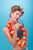 Beautiful emotional girl with pretty smile in pinup style posing — Stock Photo
