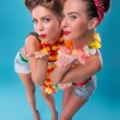 Two beautiful emotional girls in pinup style — Stock Photo #51220687
