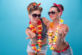 Two beautiful emotional girls in pinup style — Stock Photo