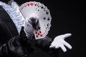 Consummate mastery of magician — Stock Photo