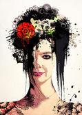 Stylish Surreal Portrait of a girl — Stockfoto