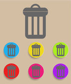 Trash can icon with color variations, vector — Vettoriale Stock