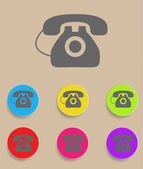 Vector old phone icons with color variations — Stock Vector