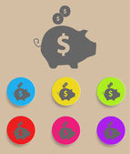Piggy bank - saving money icon with color variations, vector — Stock Vector