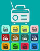 Retro Radio icon Illustration with Color Variations (Vector) — Stock Vector