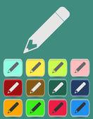 School Pencil Icon with Color Variations — Stock Vector