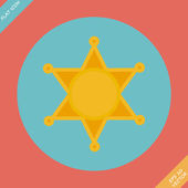 Sheriff star icon - vector illustration. Flat design element — Stock Vector