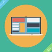 Laptop Icon illustration - vector illustration. Flat design — Stock Vector