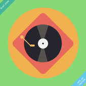 Vector turntable player icon - vector illustration. Flat design — Stock Vector