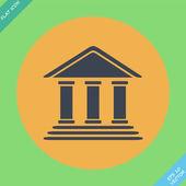 Banka Binası - vektör çizim. düz tasarım öğesi — Stok Vektör