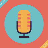 Retro microphone icon - vector illustration. Flat design element — Stock Vector