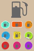 Gas station fuel pump black icon set — Stock Vector