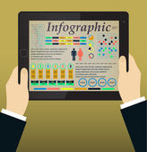 Infographics on the Tablet PC and Hands. Vector — Vettoriale Stock