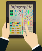 Infografica sulla tavoletta e mani. Vector — Vettoriale Stock