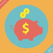 копилка - спасти деньги значок - вектор — Cтоковый вектор