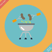 Barbecue  grill menu icon - vector illustration. — Stok Vektör