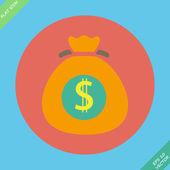 Money bag sign icon. Dollar USD symbol. — Stock Vector
