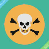 Skull and bones warning sign - vector illustration — Stock Vector