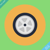 Auto wheel tire - vector illustration. Flat — Vector de stock