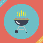 Barbecue grill icon - vector illustration. Flat — Stock Vector