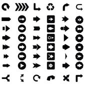 Set of black universal arrows. vector illustration — Vettoriale Stock