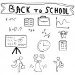 Back to School Supplies Sketchy Doodles — Stock Vector