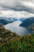 Lysefjord view from Preikestolen cliff in Norway — Stock Photo