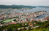 Bergen city in Norway view from hill — Stock Photo