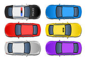 Set of 6 various cars from above view — Stock Photo