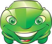 счастливый зеленый автомобиль — Cтоковый вектор