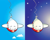 Bungee jumper jumbo jet mascot — Stock Vector