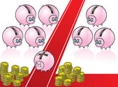 Piggy bank on red carpet — Stock Vector