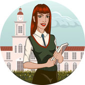 College student girl stands in front of the college building — Stock Vector