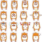 16 smiley hamsters — Stock Vector