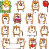 15 smiley hamsters — Stock Vector