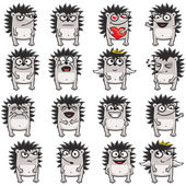 16 smiley hedgehogs (1) — Stock Vector
