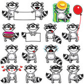 Smiley racoons — Stock Vector