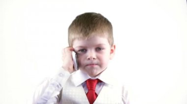 Boy  talking on the phone — Stock Video