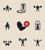 Exercises icons set — Stock Vector