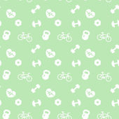 Seamless pattern fitness icons on green — Stock Vector