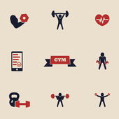 Gym and fitness icons set 2 — Stock Vector