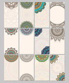 Set retro business card. Vector background. Card or invitation. Vintage decorative elements. Hand drawn background. Islam, Arabic, Indian, ottoman motifs. — Stock Vector