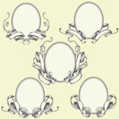 Ribbon frame and border ornaments — Stock Vector