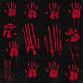 Bloody Hand Print Element Set 01 — Stock Vector