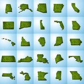 Nás státní mapy nastavit i — Stock fotografie