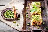 Turkish nut and phyllo pastry dessert, baklava — Stock Photo